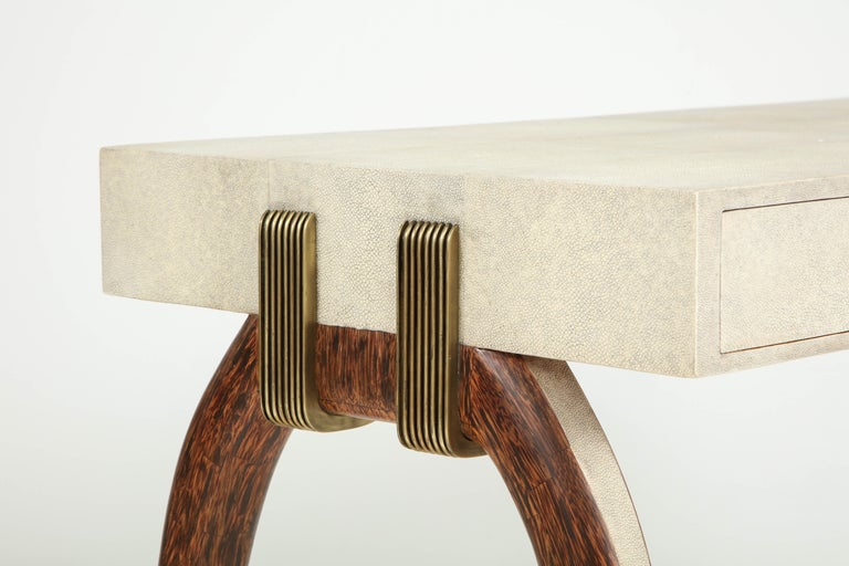 Philippine Desk, Shagreen with Brass and Palm Wood Details, in Stock For Sale