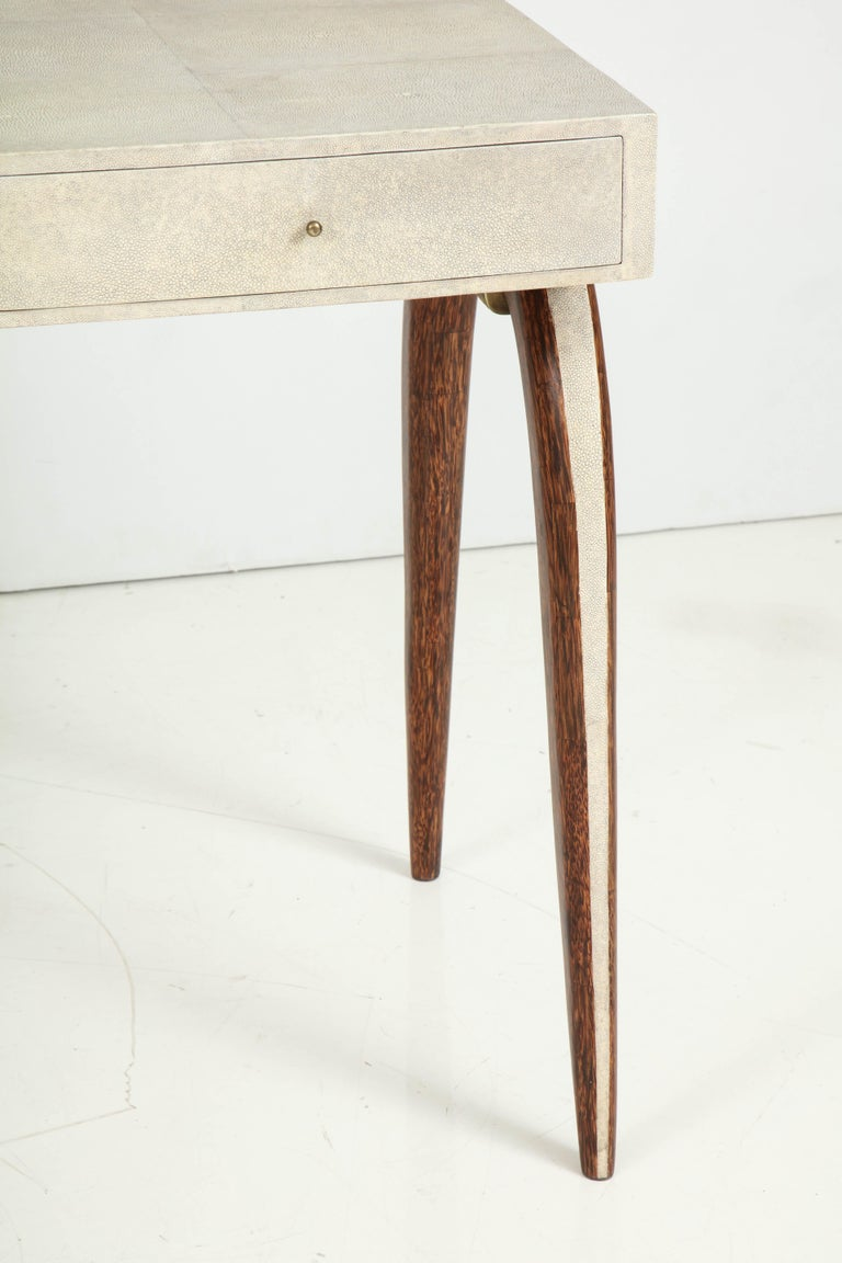 Contemporary Desk, Shagreen with Brass and Palm Wood Details, in Stock For Sale