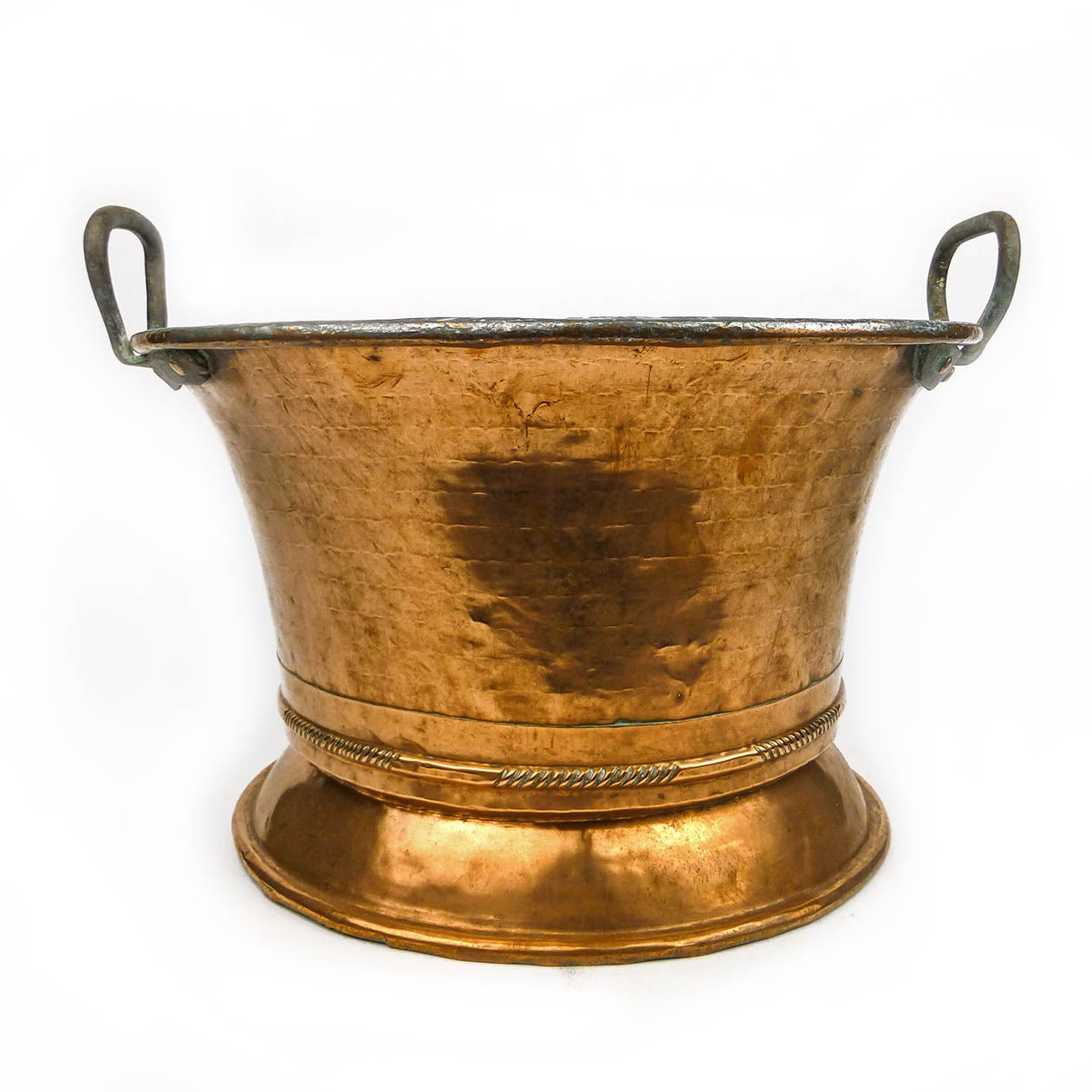 german two handled copper pot or jardiniere circa 1820. Black Bedroom Furniture Sets. Home Design Ideas