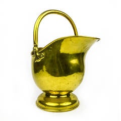 English Brass Helmet Shaped Scuttle, circa 1875