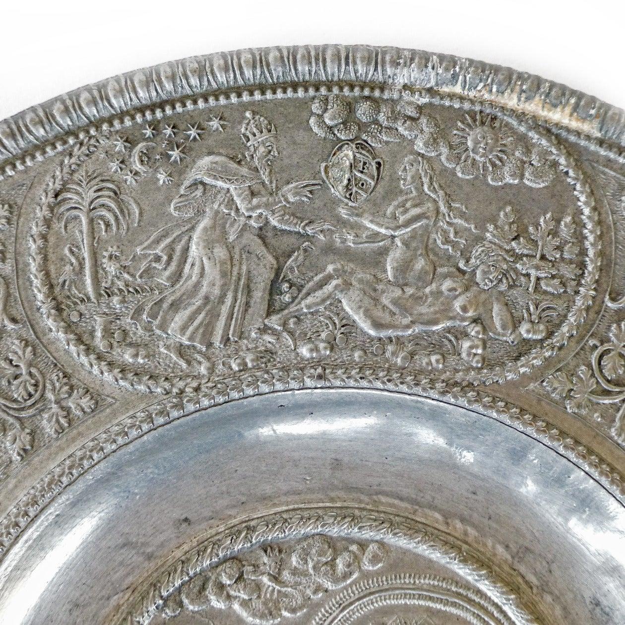 German Pewter Plate Kurfurstenteller Dated 1619 For