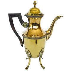 French Brass Four-Legged Coffee Pot, circa 1840