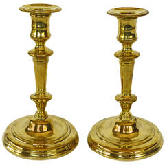 Pair of French or English Huguenot Brass Silver Form Candlesticks, circa 1690
