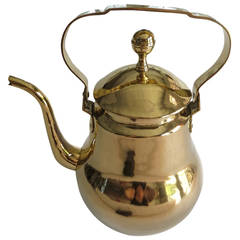 Large Dutch or Flemish Brass Pear Shaped Water Kettle, circa 1875