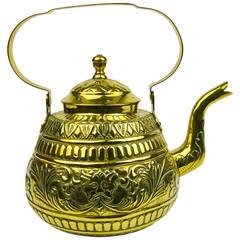 Dutch Brass Tea Pot with Swing Handle and Beautiful Decoration, circa 1800