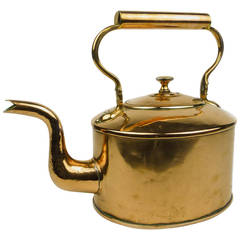 Large Oval English Copper Tea Kettle, circa 1840