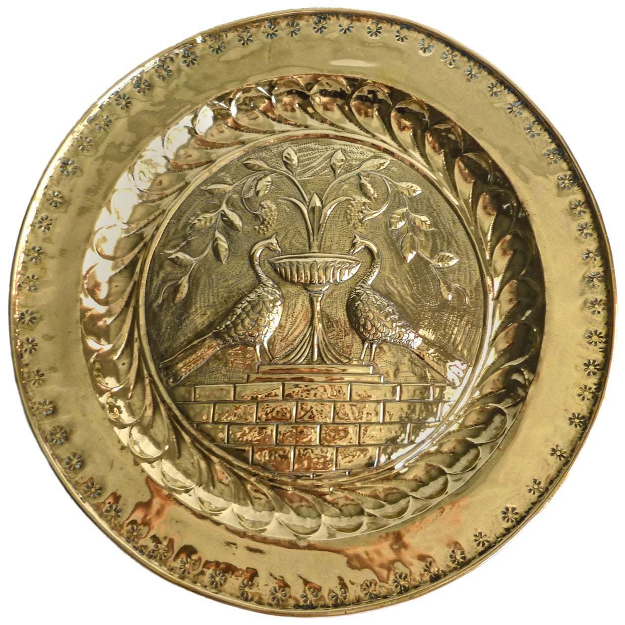 Extremely Rare Large Size German Brass Alms Dish, circa 1500 1