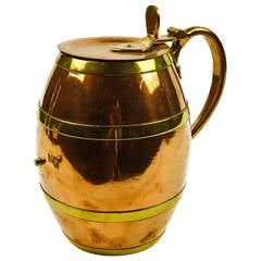 American Copper and Brass Barrel Tankard, circa 1875