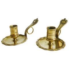 Rare Pair of French Brass Chambersticks, circa 1780