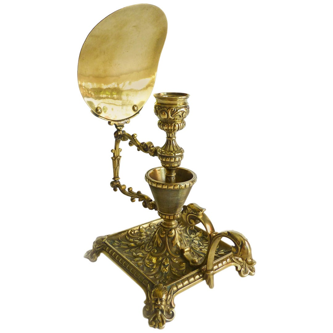 Rare English Brass Match Holder And Chamberstick With Reflector Circa 1875 At 1stdibs