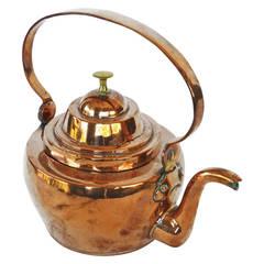 Rare Small Dutch Copper Tea Kettle, circa 1850