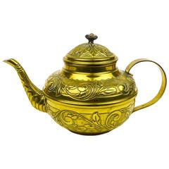 Decorated French Brass Tea Pot, circa 1850
