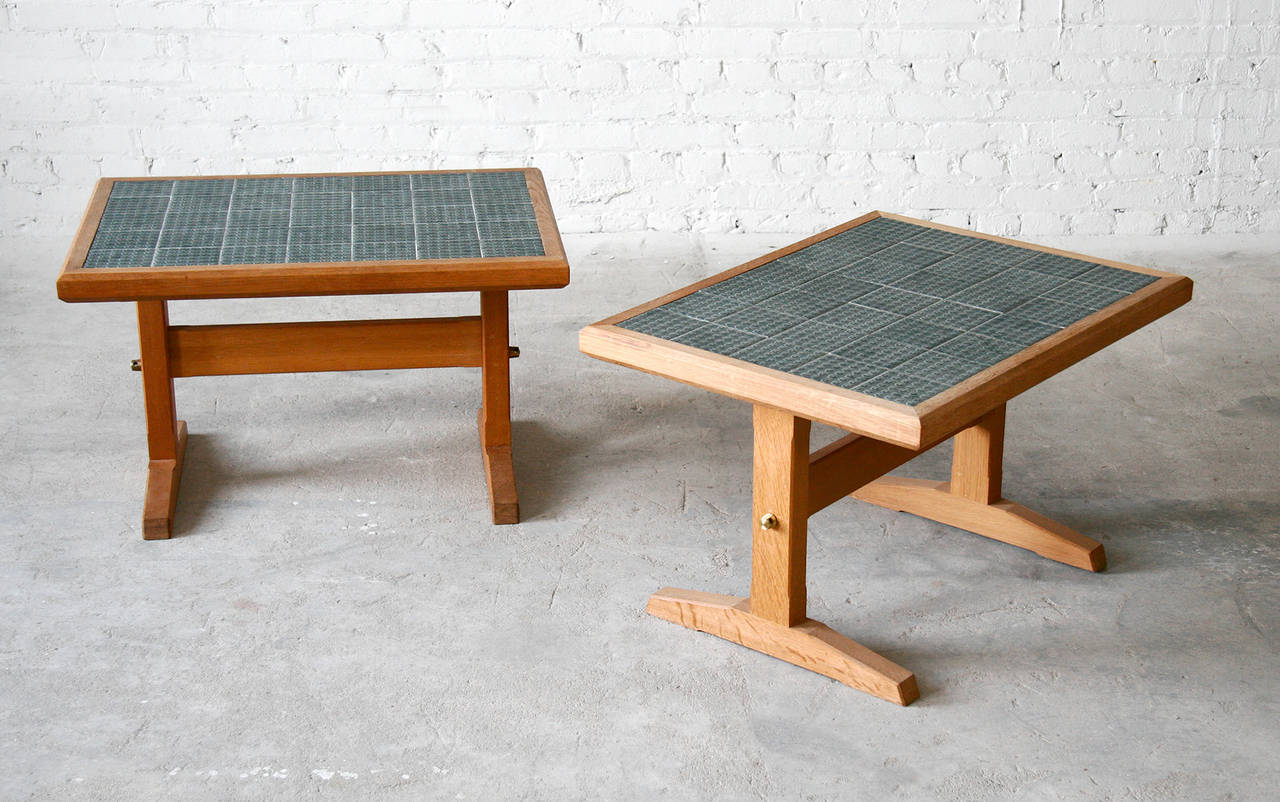 Two Jens Quistgaard Danish Modern Nissen Oak And Tile Side Or Coffee Tables At 1stdibs