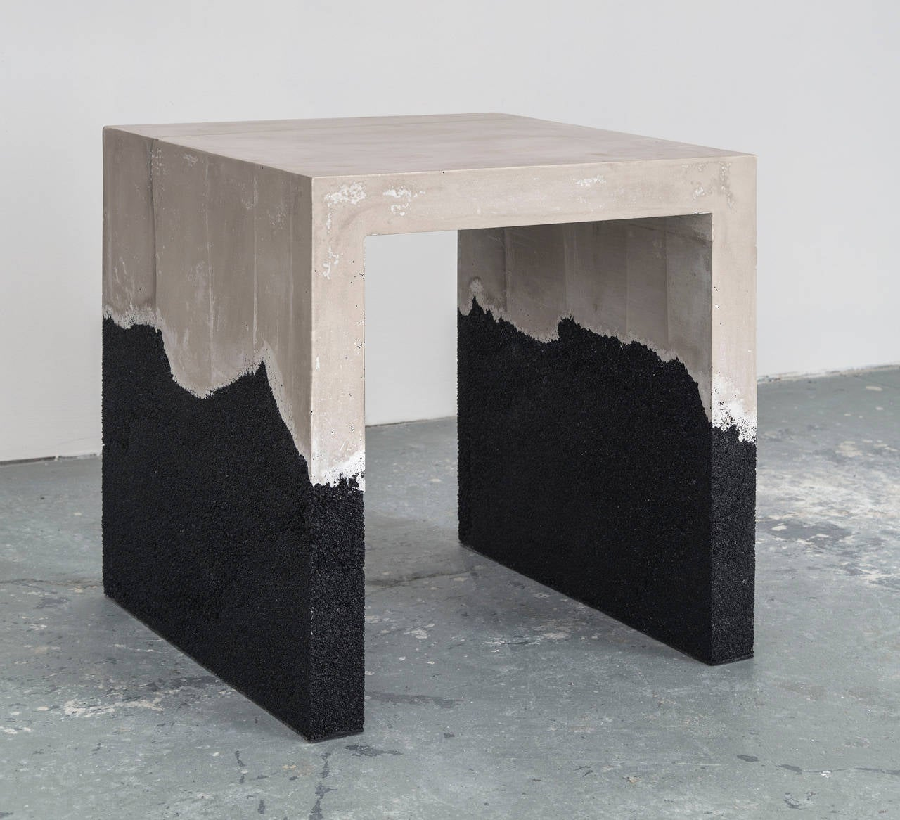 Raw Cement and Black Silica Side Table 3