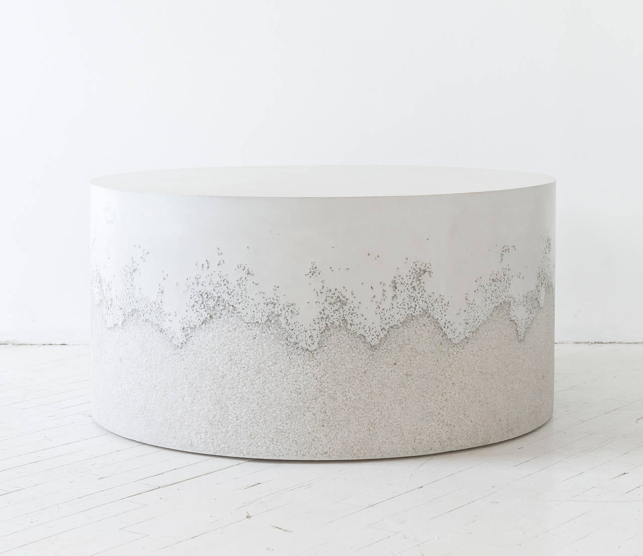 White Cement And Crystal Quartz Drum Coffee Table For Sale