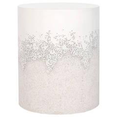 White Cement and Crystal Quartz Drum by Fernando Mastrangelo