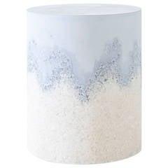Ice Blue Cement and Rock Salt Drum by Fernando Mastrangelo