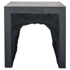 Black Cement and Black Silica Side Table by Fernando Mastrangelo
