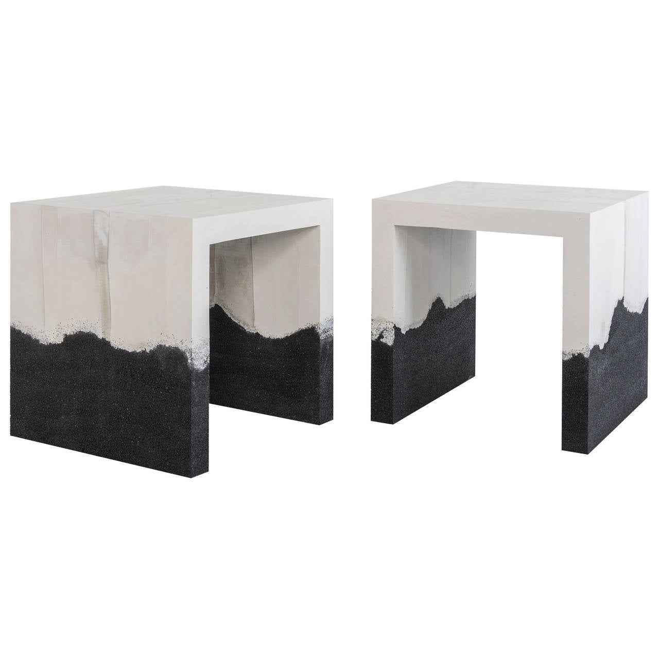 Raw Cement and Black Silica Side Table 1