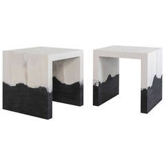 Raw Cement and Black Silica Side Table