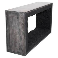 Black Cement and Black Silica Console by Fernando Mastrangelo