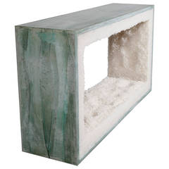 Celadon, Cement and Rock Salt Console by Fernando Mastrangelo