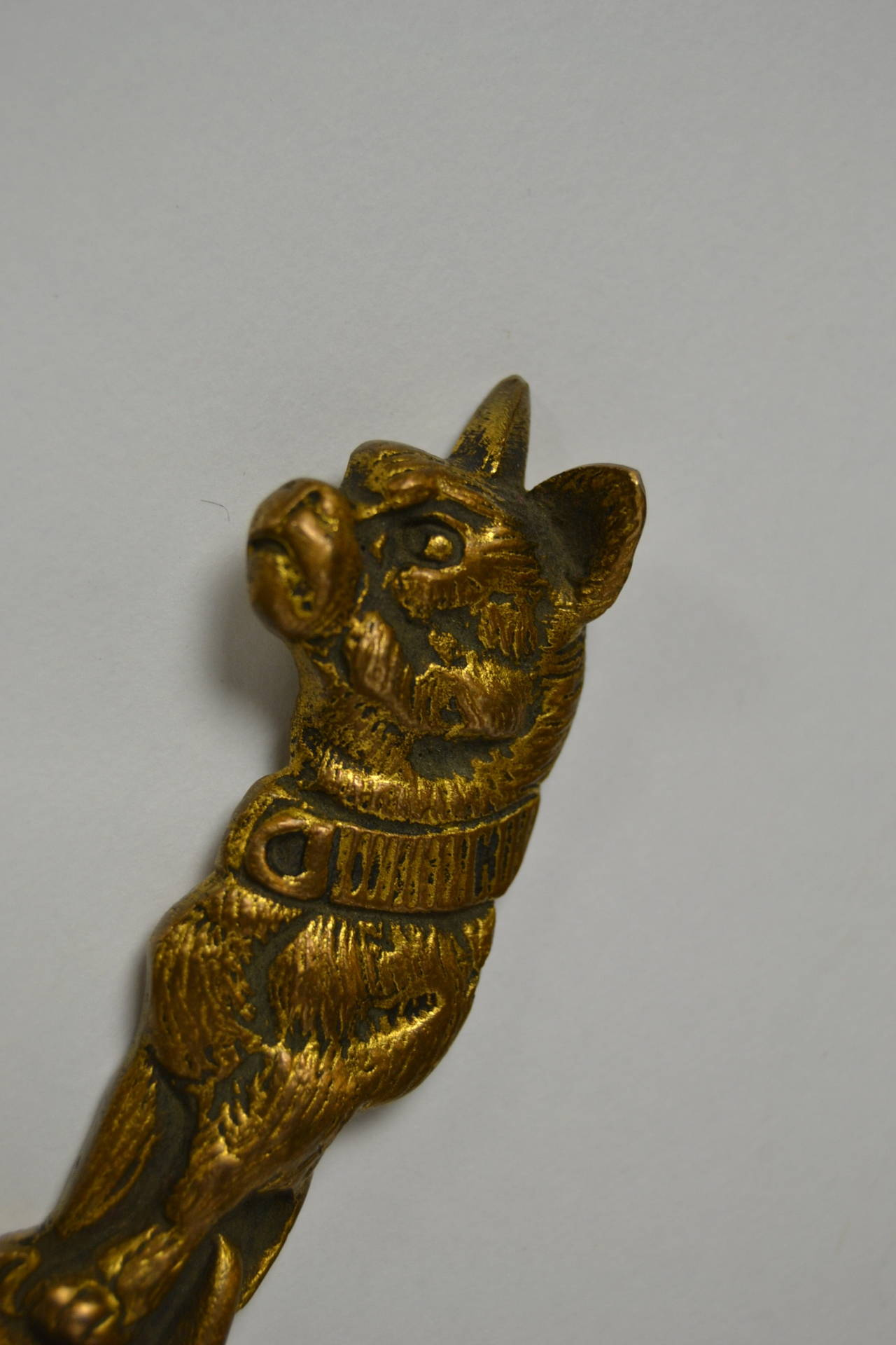 19th Century Letter Opener French Bulldog Signed By Bailly