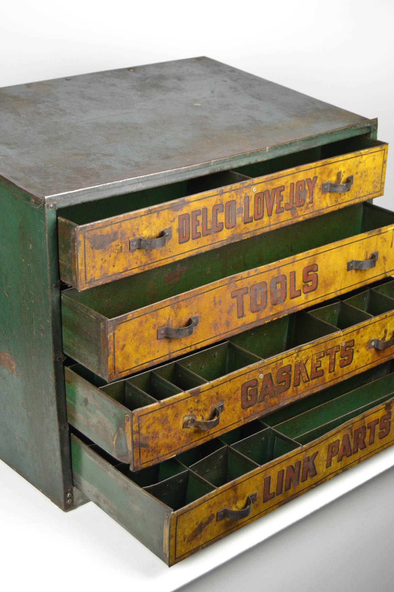 British 1930s Garage Toolbox, Metal, Four Drawers, UK For Sale