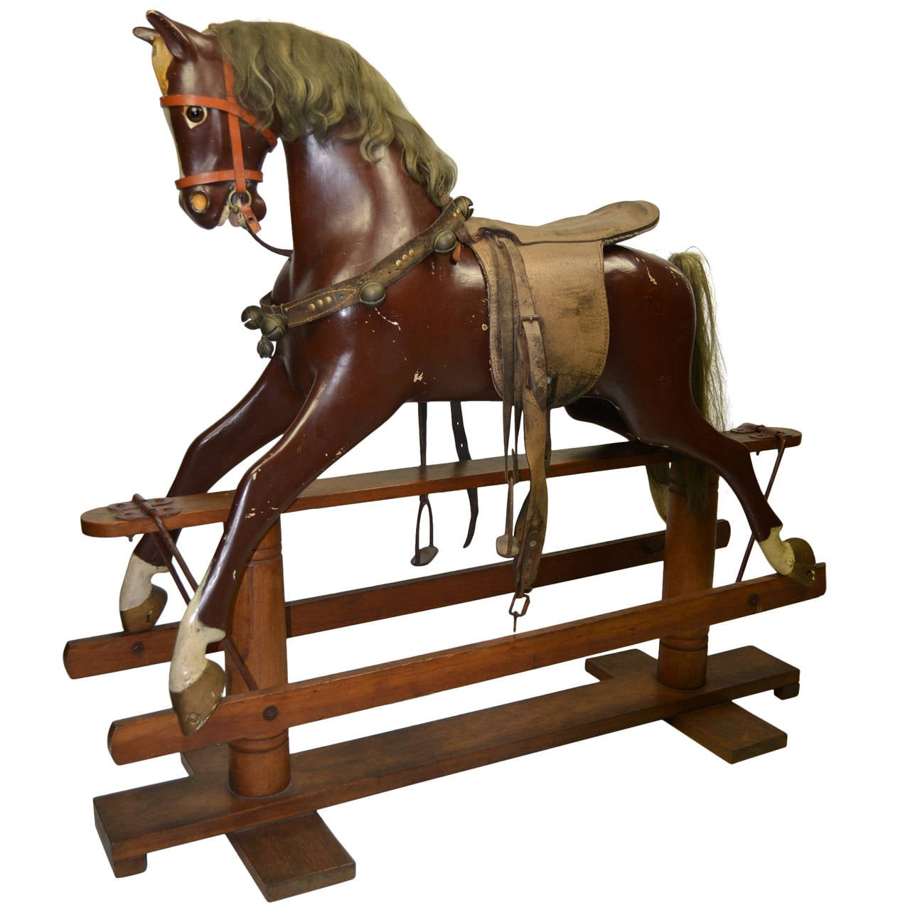 Antique Large Rocking Horse on Wooden Base