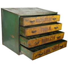 1930s Garage Toolbox, Metal, Four Drawers, UK