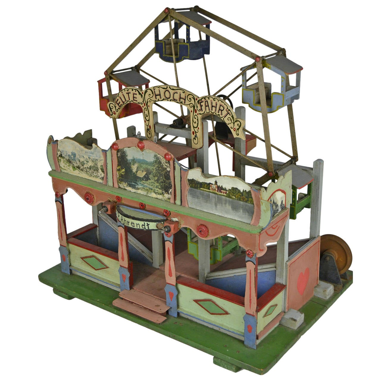 Folk Art Wooden Diecast of a Fairground and Giant Wheel