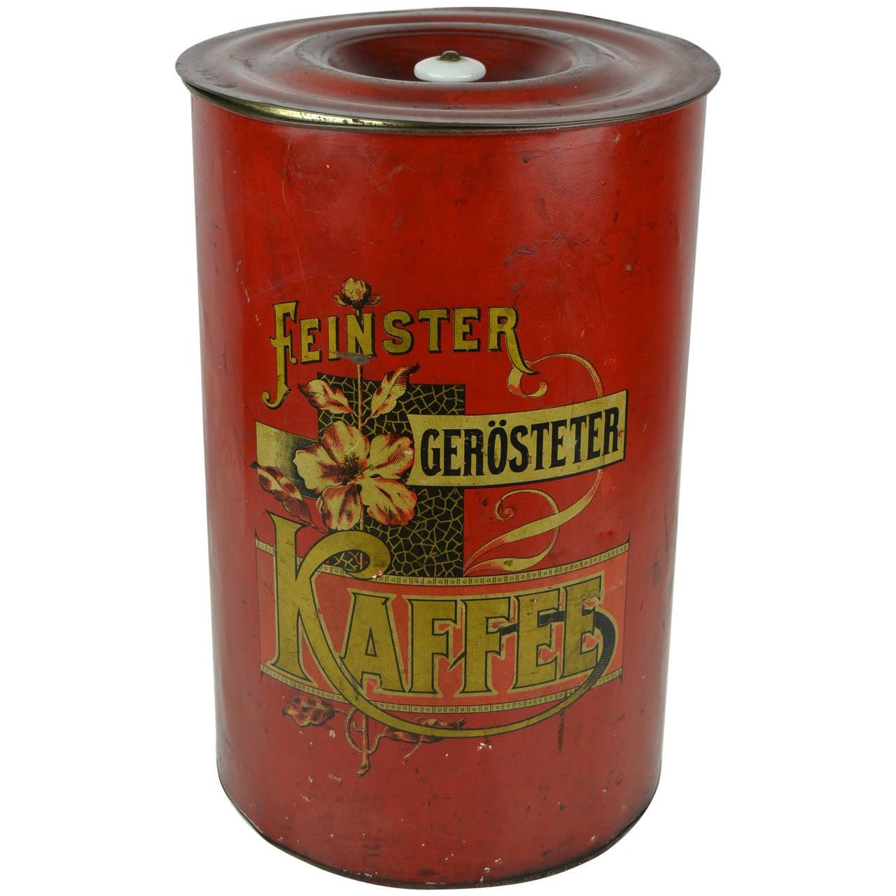 Art Nouveau Tin Coffee Can