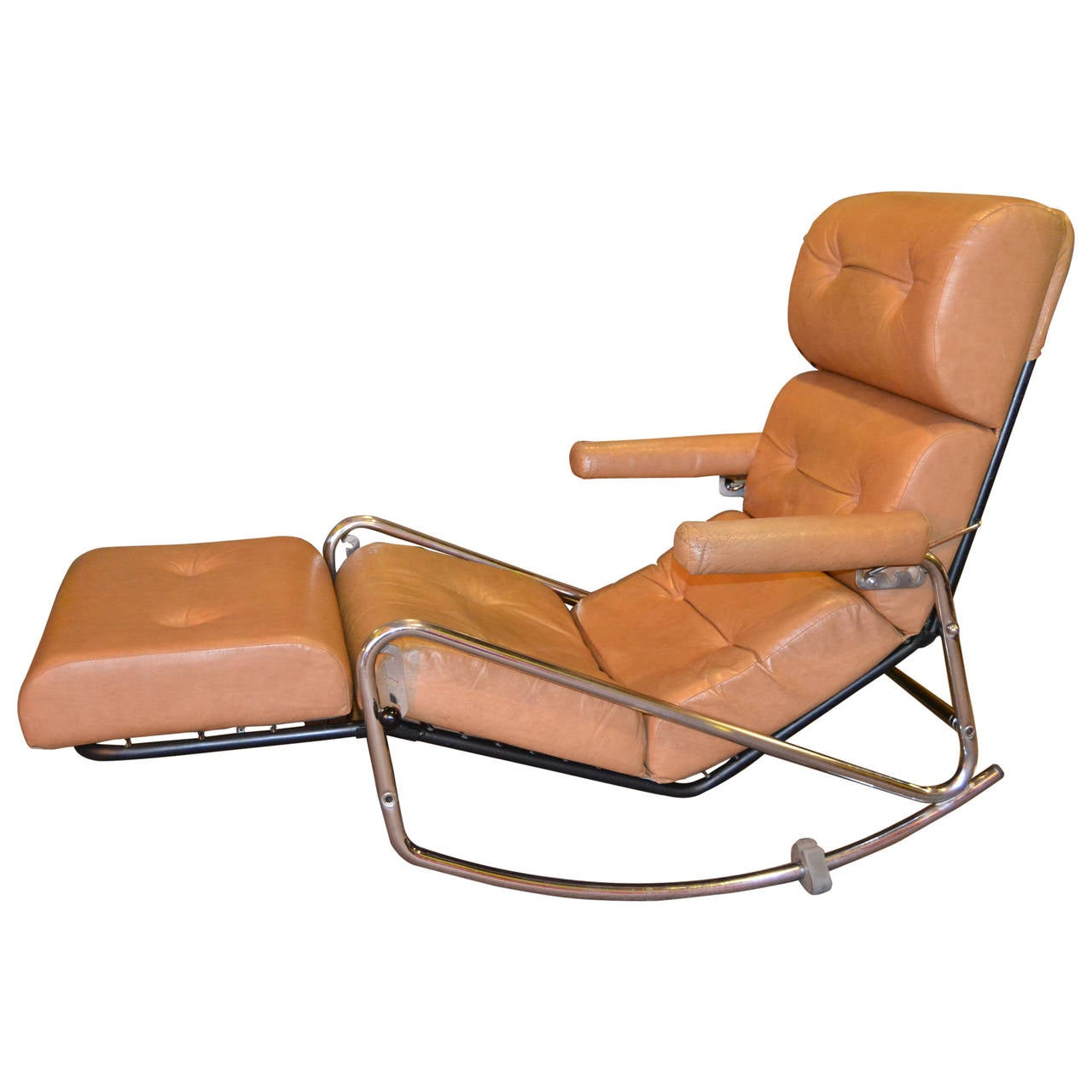 1960s Vintage Lama Chrome Lounge Rocking Chair At 1stdibs