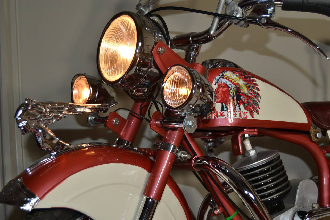 Chrome 1950s Carousel Indian Motorbike by Lenaerts, Belgium  For Sale