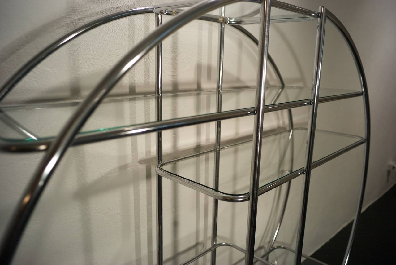 North American Chrome Circular Etagere in the Style of Milo Baughman