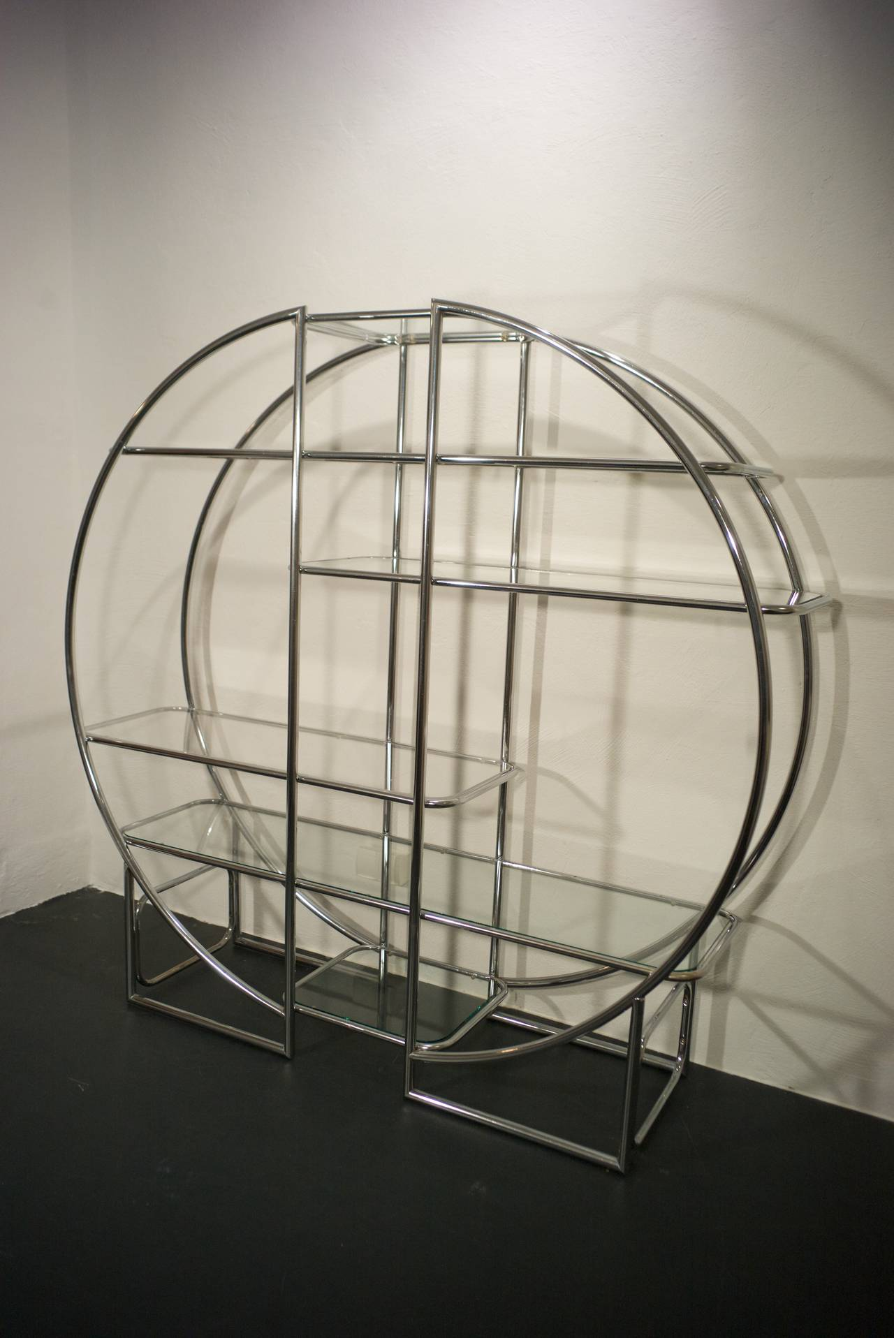 Hollywood Regency Chrome Circular Etagere in the Style of Milo Baughman