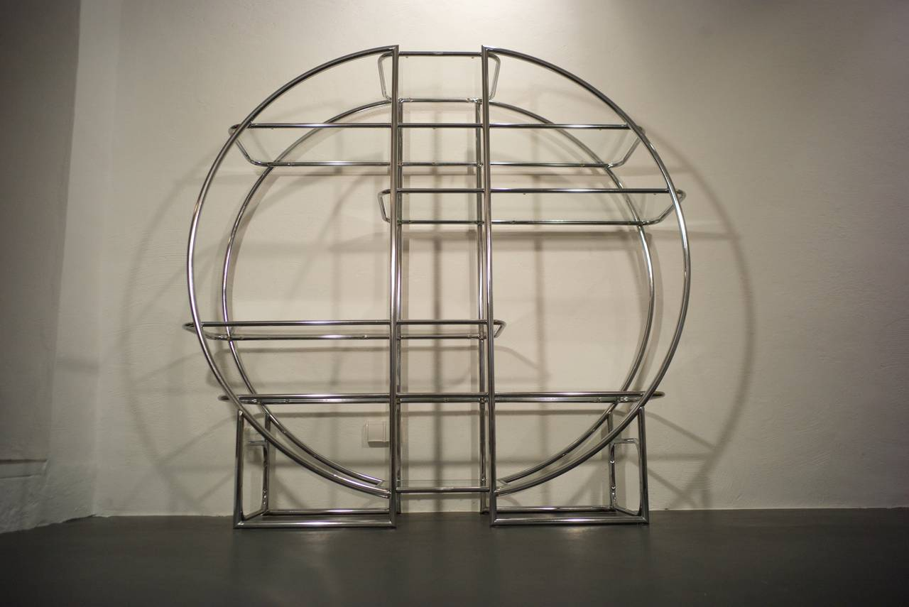 Other Chrome Circular Etagere in the Style of Milo Baughman