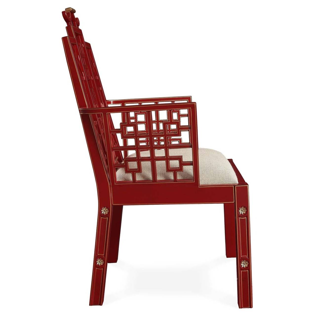 Ming chinoiserie red lacquer dining chair for sale at 1stdibs for Red dining chairs for sale