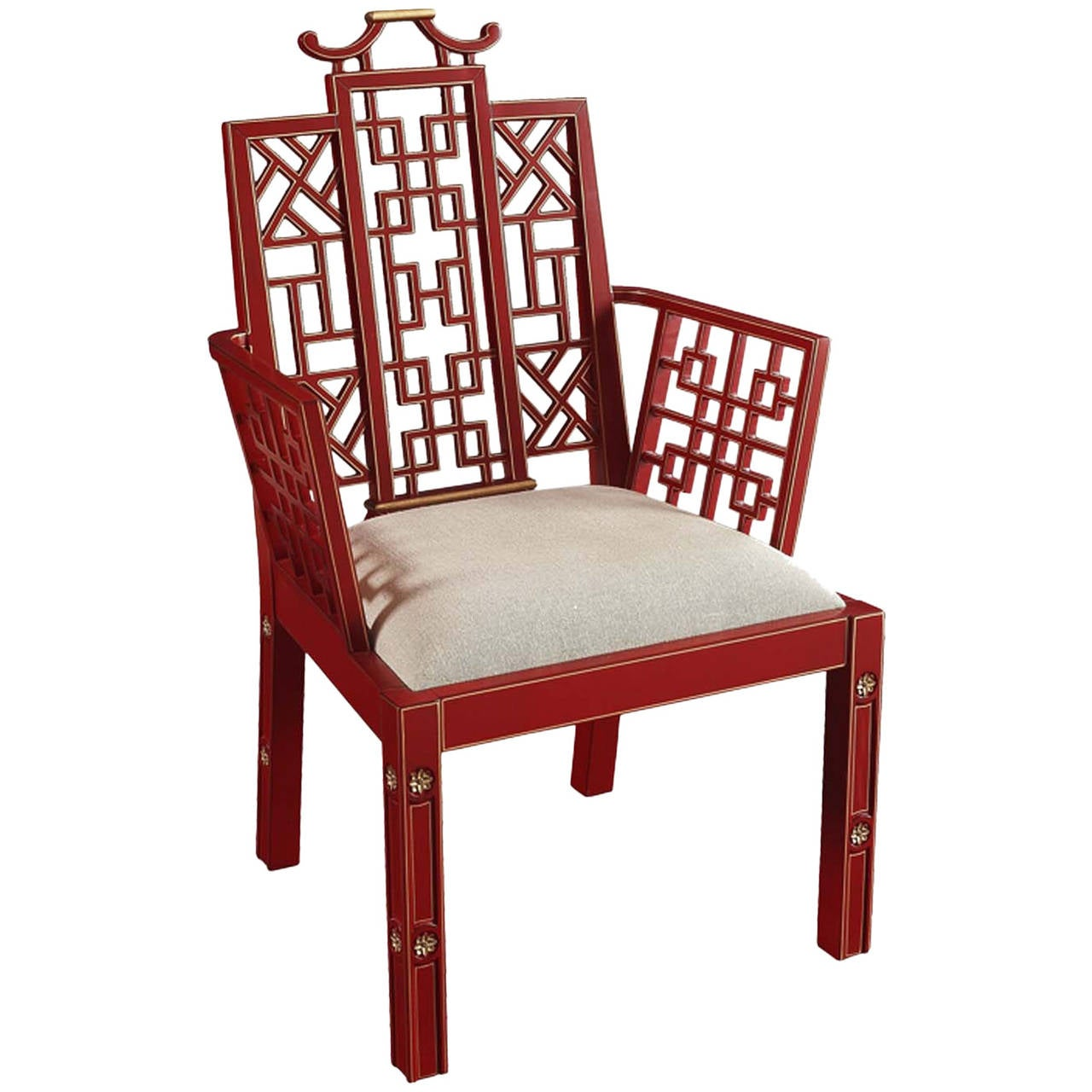 Ming Chinoiserie Red Lacquer Dining Chair At 1stdibs