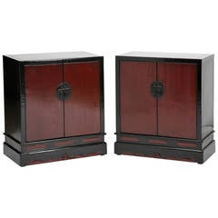 Antique Red & Black Lacquer Chinese Scholar's Book Chests/Cabinets, Chinoiserie