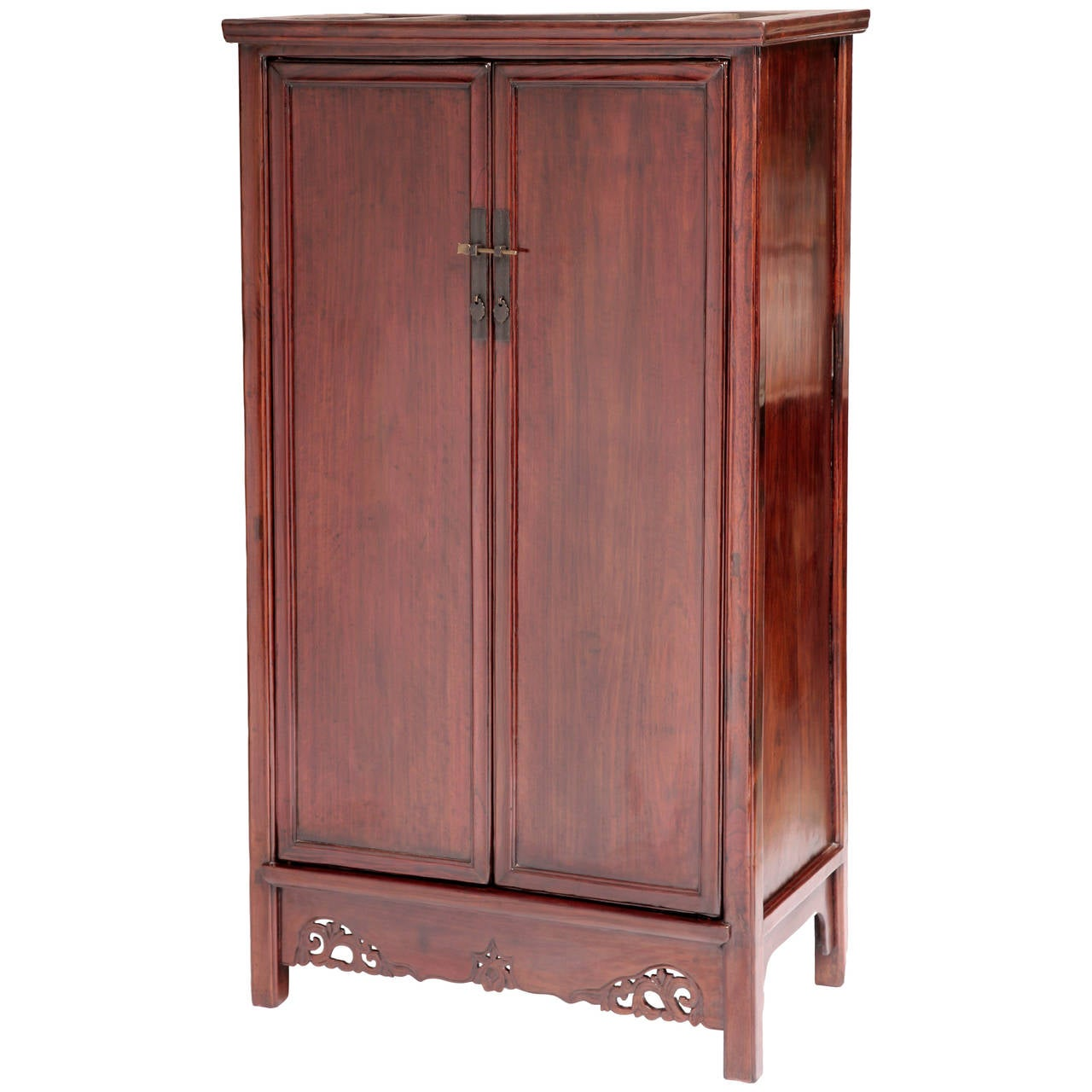 19th Century Chinese Cedar (Nan Mu) Tapered Round Corner Cabinet, Ming Style