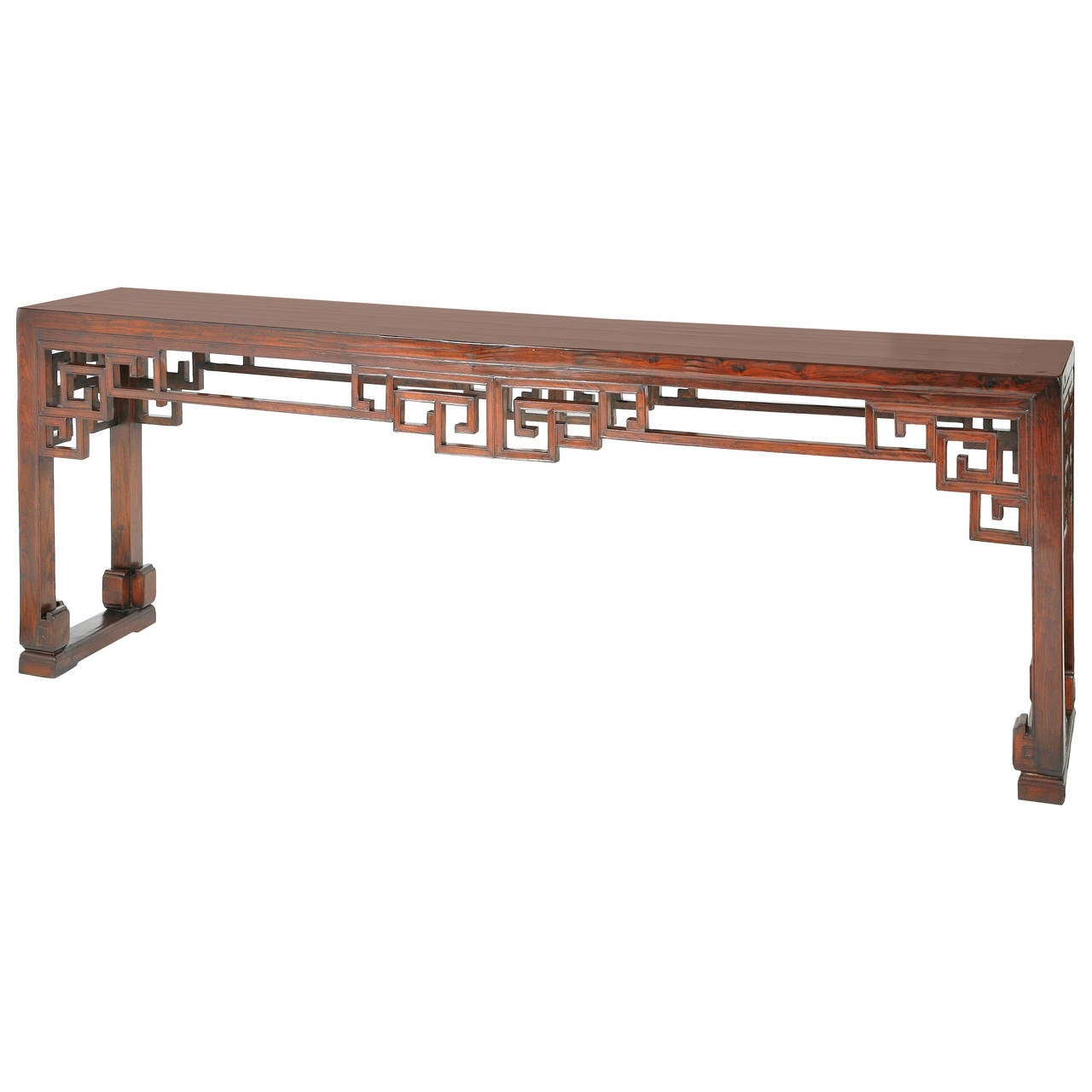 Long Antique Chinese Table Or Console Fret Openwork Chinoiserie Ming Style For