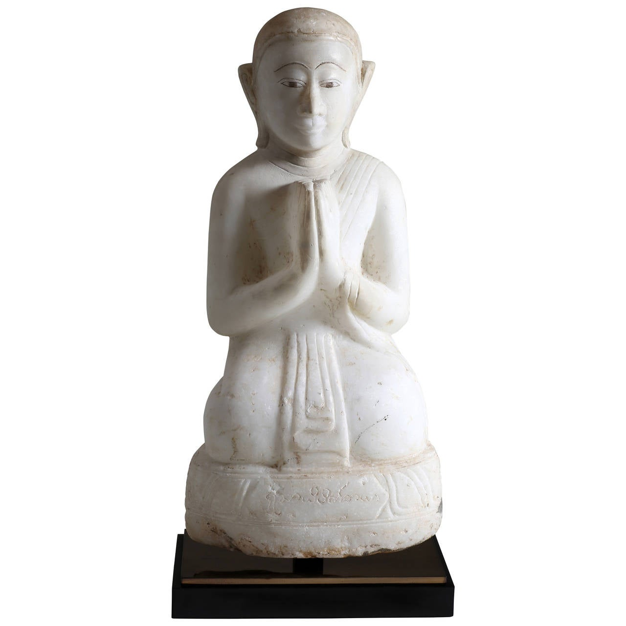 Antique Burmese Alabaster Kneeling Monk Sculpture, Mandalay Style