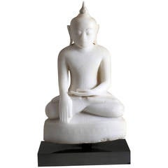 Antique Burmese Alabaster Seated Buddha Sculpture, Shan Style