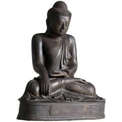 Antique Burmese Bronze Seated Buddha Sculpture, Mandalay Style