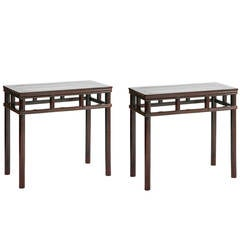 Pair of Antique Chinese Rectangular Console Tables, Ming Wrapped-Around Style