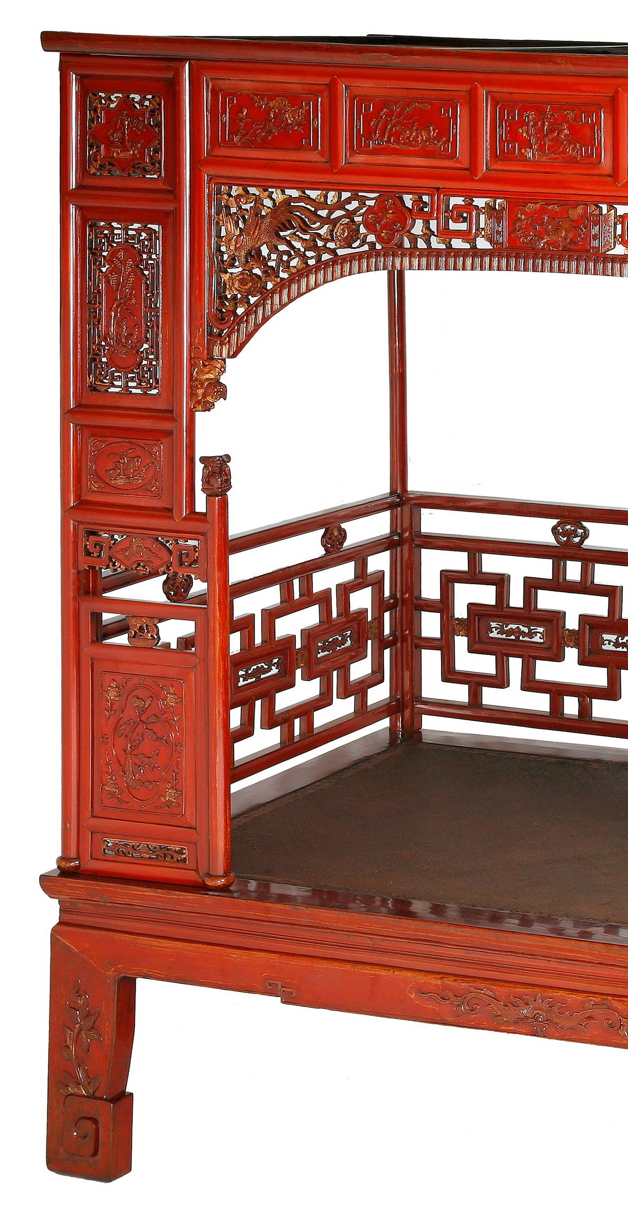 Antique Red Lacquer Gilt Six-Posted Carved Canopy or ...