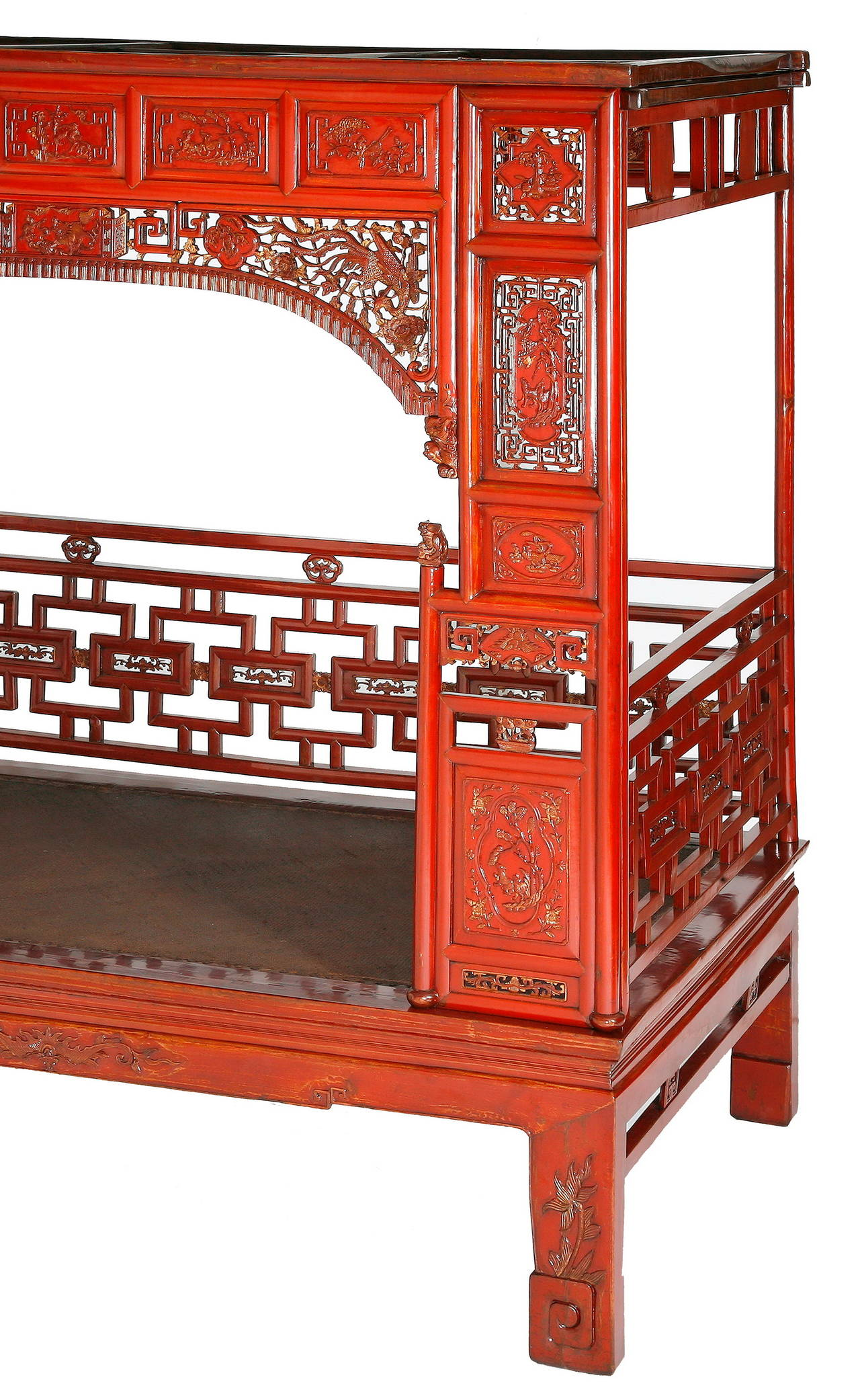 Antique Bed: Antique Red Lacquer Gilt Six-Posted Carved Canopy Or