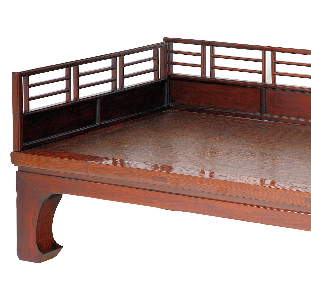 Of Superb Quality And Classic Ming Form, The Day Bed Featuring Railings  With Square