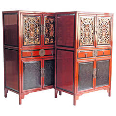 Antique Pair of Red and Black Cabinets with Gilt Lacquer Fretwork Carvings